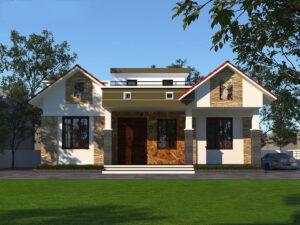 Biệt thự vườn 1 tầng mái bằng thiết kế nhà 1 tầng 3 phòng ngủ