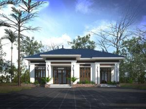 Thiết kế biệt thự vườn 1 tầng 4 phòng ngủ 11x15m
