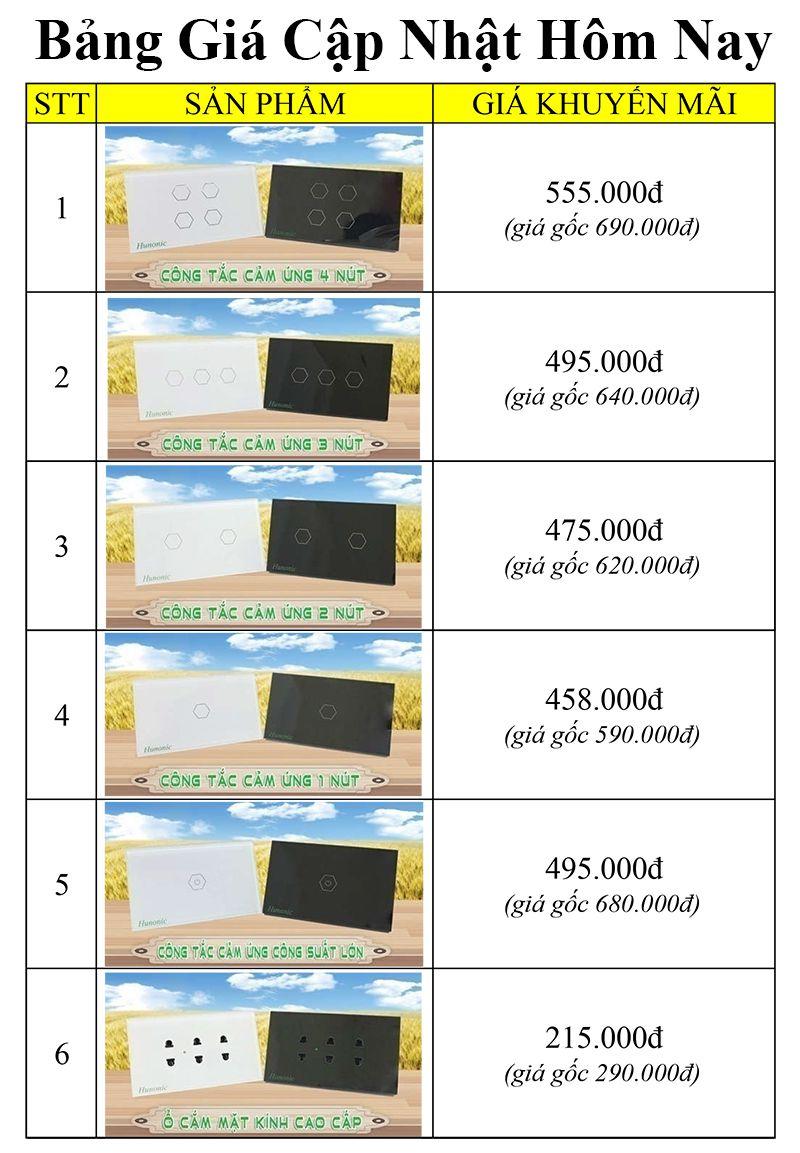 bảng giá khuyến mãi công tắc thông minh hunonic
